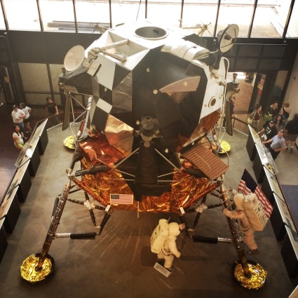 Apollo Lunar Module. There are 5 of these on the moon with 5 American Flags.