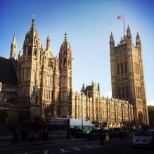Houses of Parliament, road barriers on road.