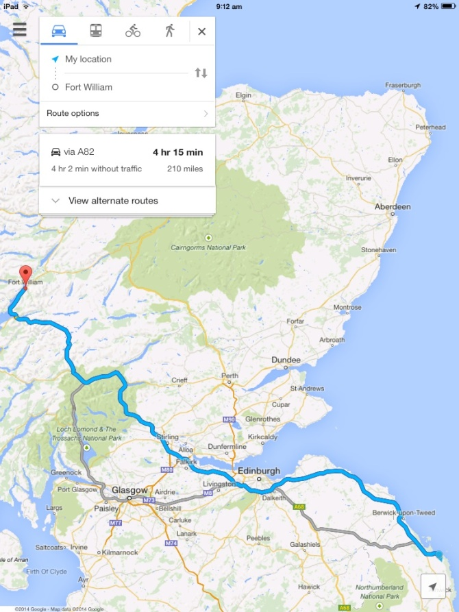 Route from Bamburgh to Fort William, via Stirling Castle.
