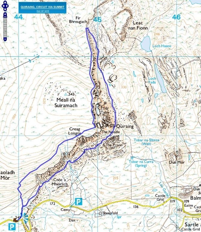 The Quiraing circuit route map. We followed clockwise.