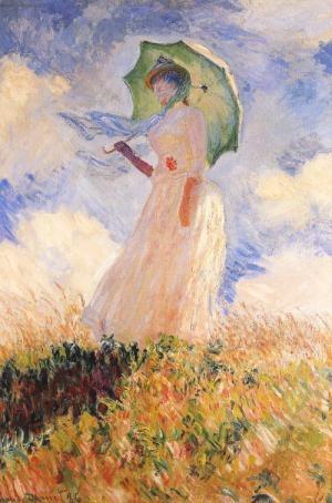 Claude Monet, Essai de figure en plein-air: femme a l'ombbrelle tournee version la gauche, 1886. You can smell the summer heat and and feel a warm breeze. This piece reminds me of home.