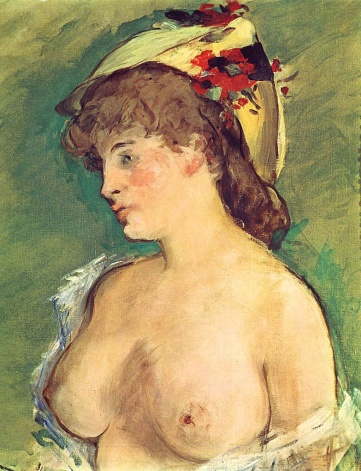 Edouard Manet, La Blonde aux seins nus, 1872-1878. He was a boob man.