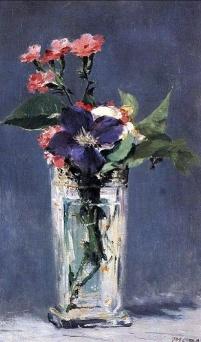 Edouard Manet, Oelleys et clematite dans in vase de cristal, 1882.
