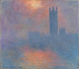 Claude Monet, Londres, la Parliment. Troupe de soleil dans Le brouillard, 1904. Monet painted countless numbers of this view as a study of light and colour. I see Turner's influence.